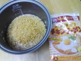 今朝の料理 チキンラーメン炊き込みご飯